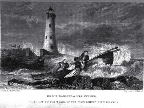 Grace Darling and her Father going off to the Wreck of the Forfarshire